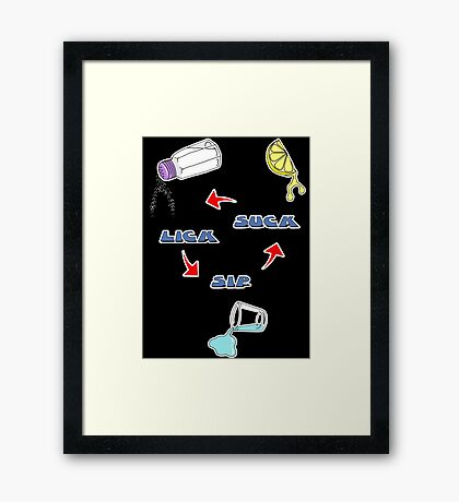 Lick, Sip, Suck - with instructions Framed Print