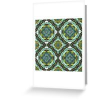 Teal Turquoise Sea Foam Nouveau Deco Pattern Greeting Card