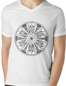 Hamsa Hand Black and White Mandala Mens V-Neck T-Shirt