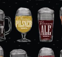 Main types of beer: pale lager, bock, dark lager, wheat, stout, pilsner, brown ale, pale ale, cider, porter, marzen, dunkel Sticker