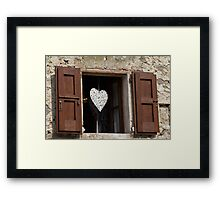 window with heart Framed Print