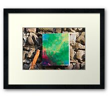framework on old wall Framed Print