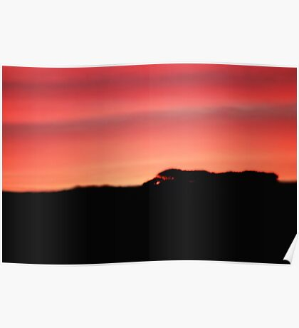 Sunset over the hills Poster