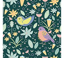 Nice green pattern with birds Photographic Print