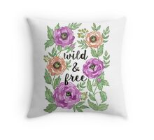 Wild and Free Watercolor Illustration Throw Pillow