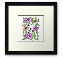 Wild and Free Watercolor Illustration Framed Print