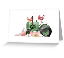 Pig Tractor and hens Greeting Card