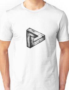 Penrose triangle illusion wood drawing Unisex T-Shirt