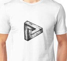 Penrose triangle illusion wood drawing Unisex T-Shirt