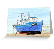 Hastings Fishing Boat in Mixed Media  Greeting Card