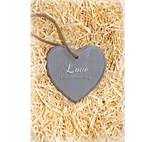 wooden love heart in saying love is a sweet thing Photographic Print