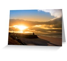 yellow sunshine over the Ballybunion beach and castle Greeting Card