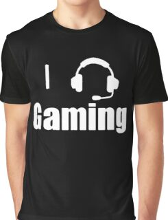 I Love, Heart Gaming Headset Cool Video Game  Graphic T-Shirt