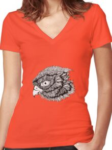 Black and white eagle, hand drawn Women's Fitted V-Neck T-Shirt