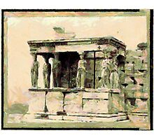 A digital painting of The Erecthion - Caryatide Porch, Athens, Greece Photographic Print