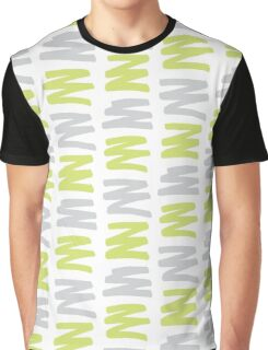 Green and Gray Brush Pattern Graphic T-Shirt