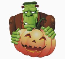 Frankenstein Monster Cartoon with Pumpkin Kids Clothes