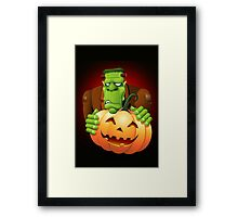 Frankenstein Monster Cartoon with Pumpkin Framed Print