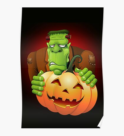 Frankenstein Monster Cartoon with Pumpkin Poster