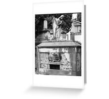 ancient grave with angel Greeting Card