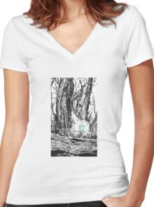 Glowing Bunny Women's Fitted V-Neck T-Shirt