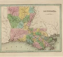 Vintage Map of Louisiana (1838) by BravuraMedia