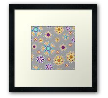 Abstract floral pattern with yellow flowers on gray Framed Print