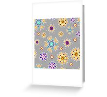 Abstract floral pattern with yellow flowers on gray Greeting Card