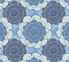 Lacy Blue & Navy Mandala Pattern by Perrin Le Feuvre
