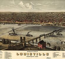 Vintage Pictorial Map of Louisville (1876) by BravuraMedia