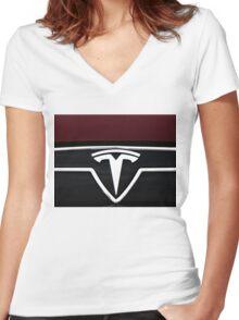 TESLA LOGO 2 Women's Fitted V-Neck T-Shirt