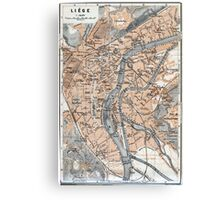 Vintage Map of Liège Belgium (1905) Canvas Print