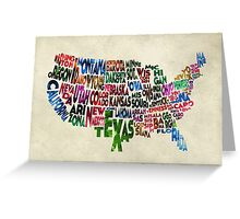States of United States Typographic Map - Parchment Style Greeting Card