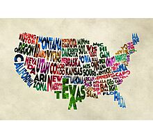 States of United States Typographic Map - Parchment Style Photographic Print