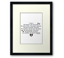 Pet words: love human Framed Print