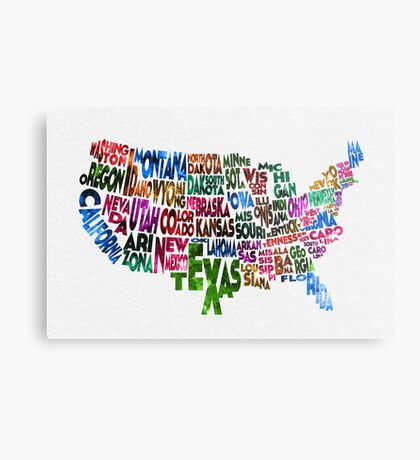 States of United States Typographic Map Metal Print