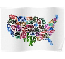 States of United States Typographic Map Poster