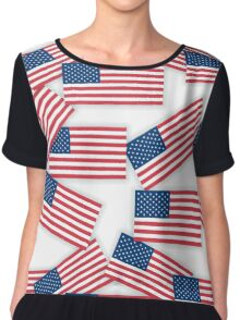 seamless pattern - US flags with shadows Chiffon Top
