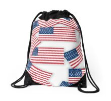 seamless pattern - US flags with shadows Drawstring Bag