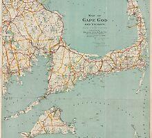 Vintage Map of Cape Cod (1917)  by BravuraMedia