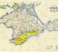 Vintage Map of Crimea (1922) by BravuraMedia