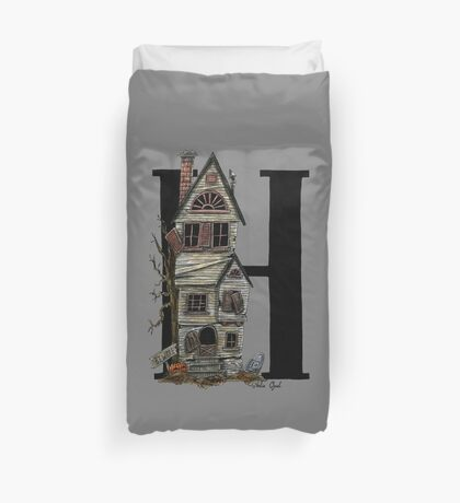H is for Haunted House Watercolor Painting Duvet Cover