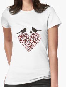 Bird on heart Womens Fitted T-Shirt