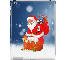 Cute Santa Claus with Gift Bag Christmas Snow Stars iPad Case/Skin