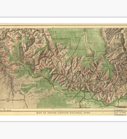 Vintage Map of The Grand Canyon (1926) Sticker