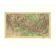 Vintage Map of The Grand Canyon (1926) Art Print