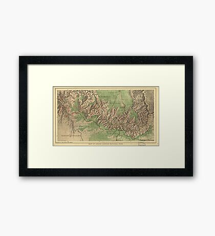 Vintage Map of The Grand Canyon (1926) Framed Print