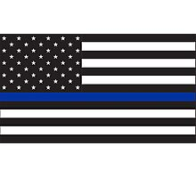 Blue Lives Matter Flag for Police Support Photographic Print