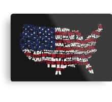 United States Typographic Map Flag Black Background Metal Print