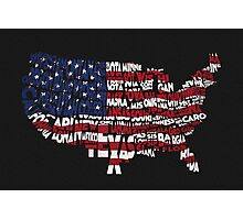 United States Typographic Map Flag Black Background Photographic Print